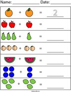 Add the Fruit Math Worksheet