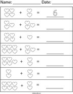Add the Hearts Math Worksheet