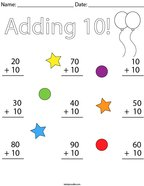 Adding 10 Math Worksheet