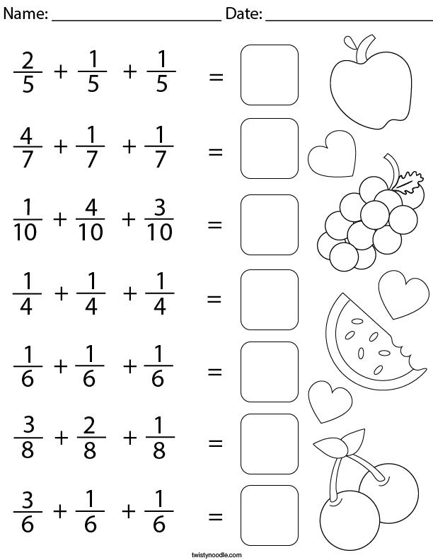 Adding 3 Like Fractions Math Worksheet