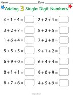 Adding 3 Single Digit Numbers Math Worksheet