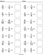Adding and Subtracting Like Fractions Math Worksheet