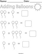 Adding Balloons Math Worksheet