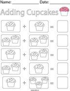 Adding Cupcakes Math Worksheet