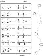 Adding Like Fractions Math Worksheet