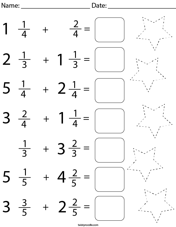Adding Mixed Fractions Math Worksheet