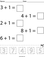 Adding One Cut and Paste Math Worksheet
