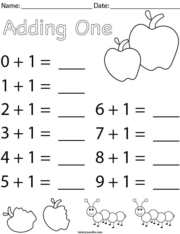 Adding One Math Worksheet