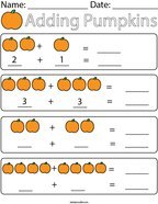 Adding Pumpkins Math Worksheet