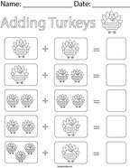 Adding Turkeys Math Worksheet
