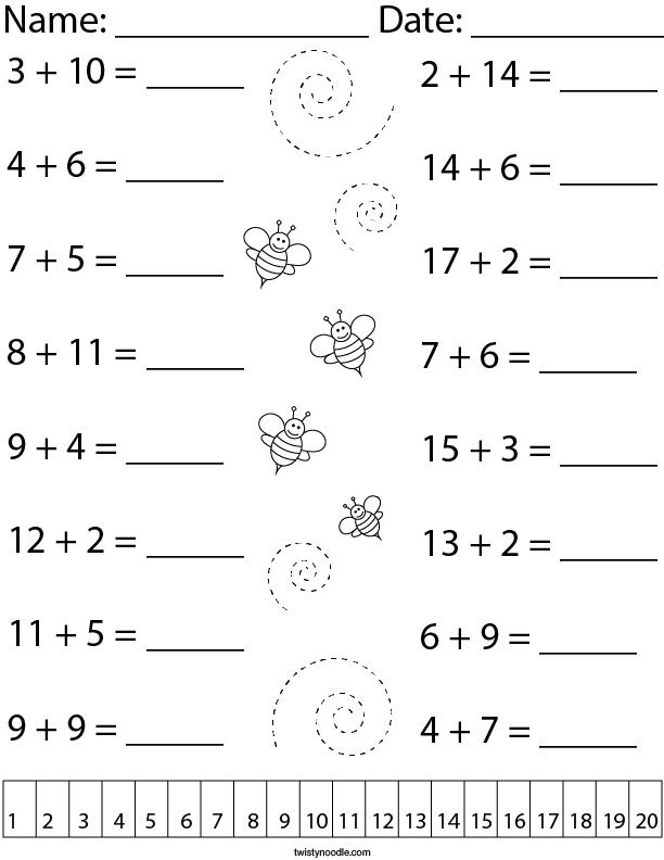 Adding Within 20 Math Worksheet - Twisty Noodle