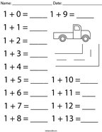 Addition Facts- Number 1 Math Worksheet
