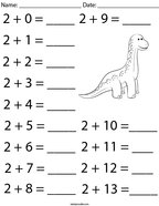 Addition Facts- Number 2 Math Worksheet