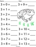 Addition Facts- Number 3 Math Worksheet