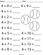 Addition Facts- Number 4 Math Worksheet