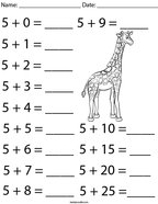 Addition Facts- Number 5 Math Worksheet
