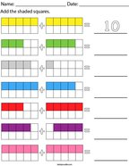 Addition with 10 frames- up to 10 Math Worksheet