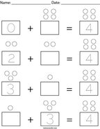 Addition with 4 Math Worksheet