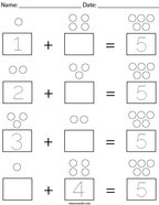 Addition with 5 Math Worksheet
