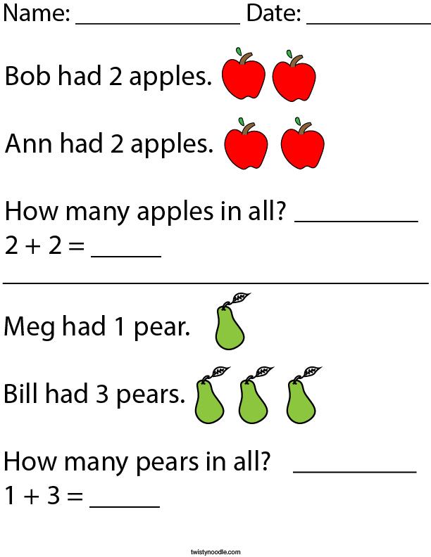 Addition Word Problems- Kindergarten Math Worksheet - Twisty Noodle