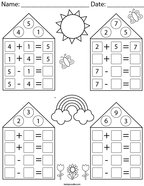Addition/Subtraction Fact Family Houses Math Worksheet