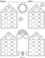 Addition/Subtraction Fact Family Practice Math Worksheet