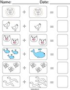 Animal Picture Addition Math Worksheet