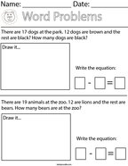 Animal Subtraction Word Problems Math Worksheet