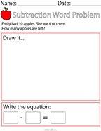 Apple Subtraction Word Problem Math Worksheet