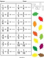 Autumn Adding Like Fractions Math Worksheet