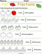Autumn Fractions Math Worksheet