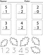 Autumn Subtract within 5 Math Worksheet