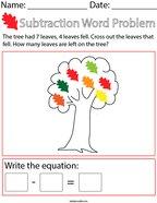 Autumn Subtraction Word Problem Math Worksheet