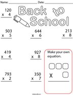 Back to School Multiplication- 3 digit Math Worksheet