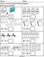 Back to School Subtraction Math Worksheet