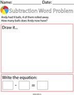 Ball Subtraction Word Problem Math Worksheet