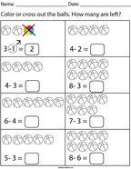 Ball Subtraction Math Worksheet