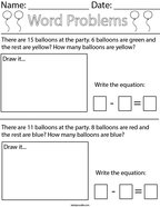 Balloon Subtraction Word Problem Math Worksheet