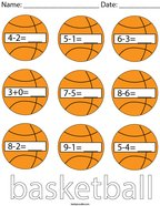 Basketball Subtraction Math Worksheet