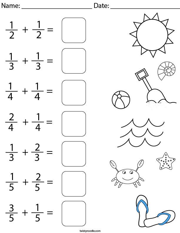 Beach Day Fractions Math Worksheet
