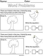Bird Subtraction Word Problems Math Worksheet