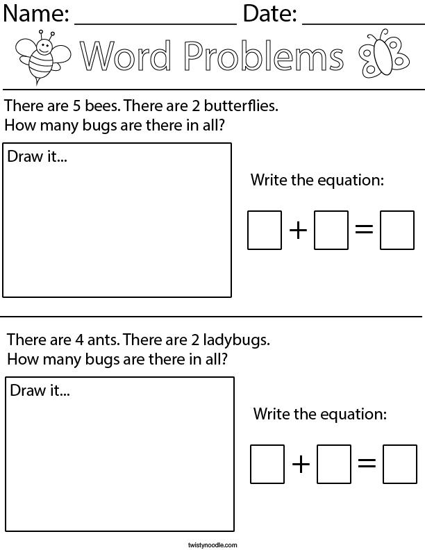 Bug Addition Word Problems- Kindergarten Math Worksheet - Twisty Noodle