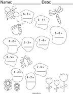 Buggy Subtraction Math Worksheet