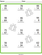Butterfly Subtraction Math Worksheet