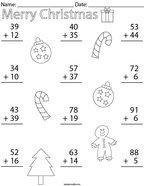 Christmas Double Digit Addition Math Worksheet