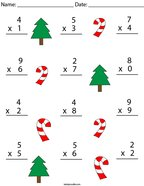 Christmas Multiplication Practice- 1 Digit Math Worksheet