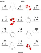 Christmas Multiplication Practice- 2 Digit by 1 Digit Math Worksheet