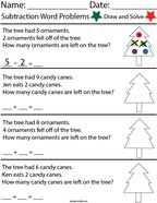Christmas Subtraction Word Problems Math Worksheet