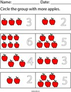 Circle the group that has more apples Math Worksheet
