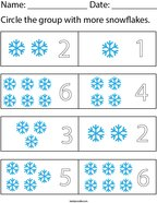 Circle the group that has more snowflakes Math Worksheet